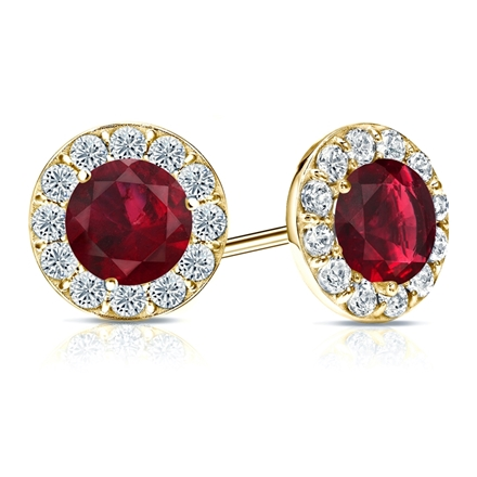 14k Yellow Gold Halo Round Ruby Gemstone Earrings 1.00 ct. tw.