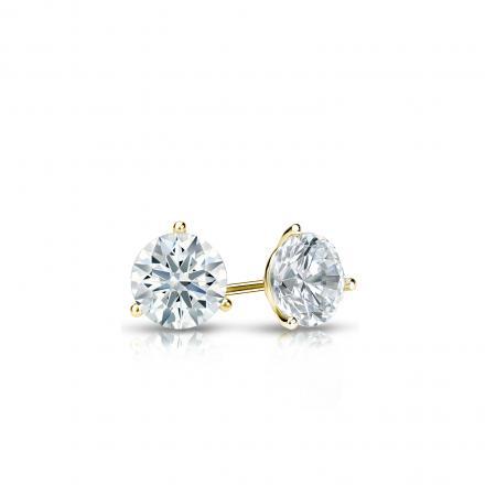 Certified 18k Yellow Gold 3-Prong Martini Hearts & Arrows Diamond Stud Earrings 0.25 ct. tw. (H-I, I1-I2)