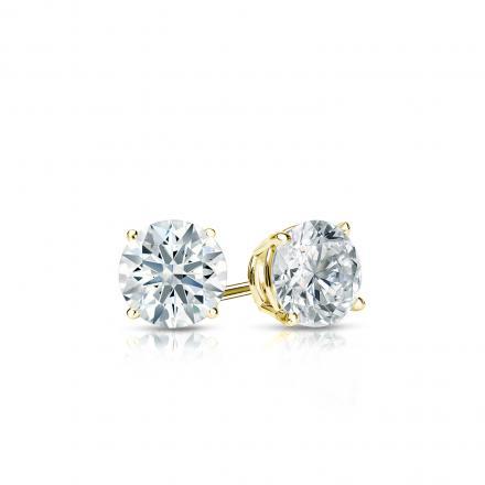 Certified 18k Yellow Gold 4-Prong Basket Hearts & Arrows Diamond Stud Earrings 0.33 ct. tw. (F-G, I1-I2)