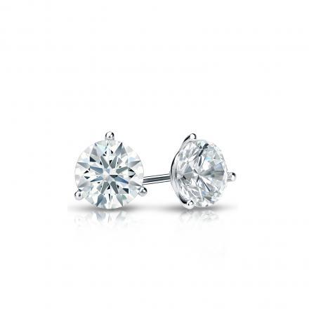 Certified 14k White Gold 3-Prong Martini Hearts & Arrows Diamond Stud Earrings 0.33 ct. tw. (F-G, I1-I2)