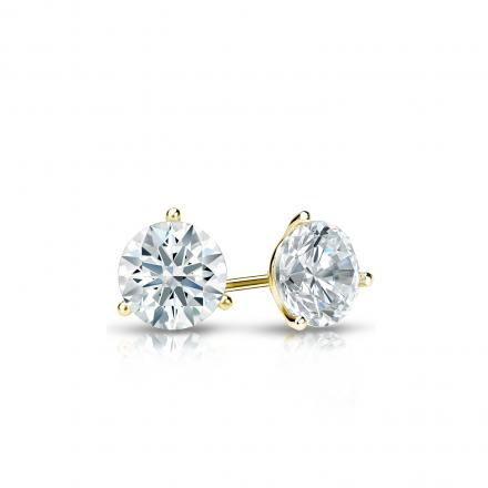 Certified 14k Yellow Gold 3-Prong Martini Hearts & Arrows Diamond Stud Earrings 0.33 ct. tw. (F-G, I1-I2)