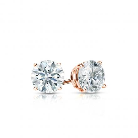 Certified 14k Rose Gold 4-Prong Basket Hearts & Arrows Diamond Stud Earrings 0.40 ct. tw. (H-I, I1-I2)