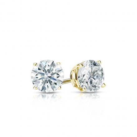 Certified 18k Yellow Gold 4-Prong Basket Hearts & Arrows Diamond Stud Earrings 0.40 ct. tw. (F-G, I1-I2)