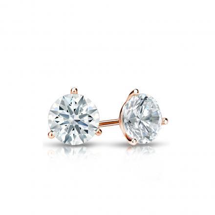 Certified 14k Rose Gold 3-Prong Martini Hearts & Arrows Diamond Stud Earrings 0.40 ct. tw. (H-I, I1-I2)