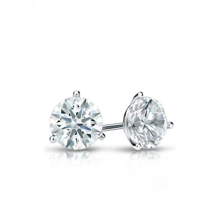 Certified Platinum 3-Prong Martini Hearts & Arrows Diamond Stud Earrings 0.40 ct. tw. (H-I, I1-I2)