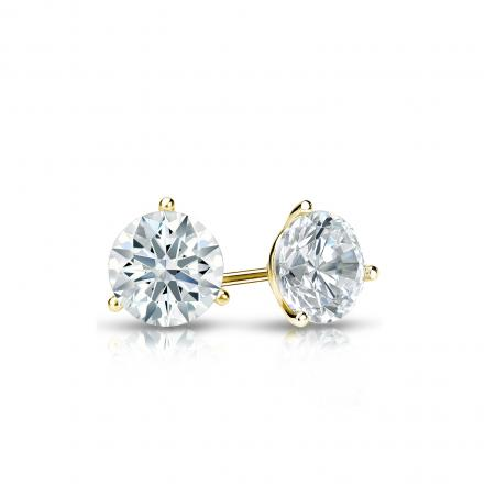 Certified 14k Yellow Gold 3-Prong Martini Hearts & Arrows Diamond Stud Earrings 0.40 ct. tw. (H-I, I1-I2)