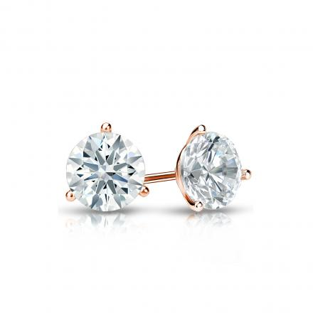 Certified 14k Rose Gold 3-Prong Martini Hearts & Arrows Diamond Stud Earrings 0.50 ct. tw. (H-I, I1-I2)