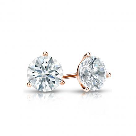 Certified 14k Rose Gold 3-Prong Martini Hearts & Arrows Diamond Stud Earrings 0.62 ct. tw. (H-I, I1-I2)