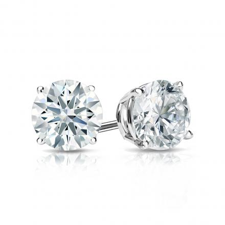 Certified 14k White Gold 4-Prong Basket Hearts & Arrows Diamond Stud Earrings 1.00 ct. tw. (H-I, I1-I2)