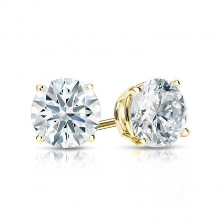 Certified 14k Yellow Gold 4-Prong Basket Hearts & Arrows Diamond Stud Earrings 1.00 ct. tw. (H-I, I1-I2)