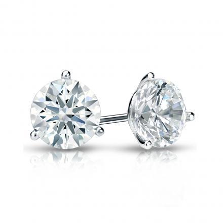 Certified Platinum 3-Prong Martini Hearts & Arrows Diamond Stud Earrings 1.00 ct. tw. (H-I, I1-I2)