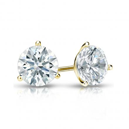 Certified 18k Yellow Gold 3-Prong Martini Hearts & Arrows Diamond Stud Earrings 1.00 ct. tw. (F-G, VS1-VS2)