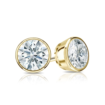 Certified 18k Yellow Gold Bezel Hearts & Arrows Diamond Stud Earrings 1.00 ct. tw. (F-G, VS1-VS2)