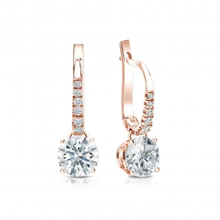 Certified 14k Rose Gold Dangle Studs 4-Prong Basket Hearts & Arrows Diamond Earrings 1.25 ct. tw. (H-I, I1-I2)