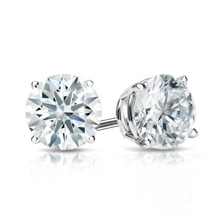 Certified 18k White Gold 4-Prong Basket Hearts & Arrows Diamond Stud Earrings 1.25 ct. tw. (H-I, I1-I2)