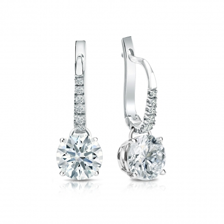 Certified 14k White Gold Dangle Studs 4-Prong Basket Hearts & Arrows Diamond Earrings 1.50 ct. tw. (G-H, SI1-SI2)
