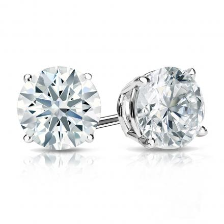 Certified 18k White Gold 4-Prong Basket Hearts & Arrows Diamond Stud Earrings 1.50 ct. tw. (H-I, I1-I2)