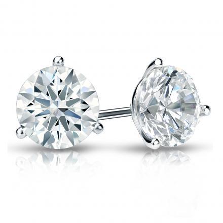 Certified Platinum 3-Prong Martini Hearts & Arrows Diamond Stud Earrings 1.50 ct. tw. (F-G, I1-I2)