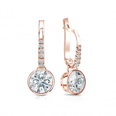 Certified 14k Rose Gold Dangle Studs Bezel Hearts & Arrows Diamond Earrings 1.50 ct. tw. (F-G, I1-I2)