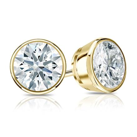 Certified 18k Yellow Gold Bezel Hearts & Arrows Diamond Stud Earrings 1.50 ct. tw. (F-G, I1-I2)