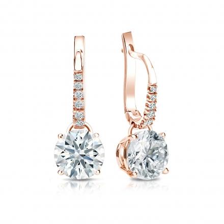 Certified 14k Rose Gold Dangle Studs 4-Prong Basket Hearts & Arrows Diamond Earrings 2.00 ct. tw. (F-G, I1-I2)