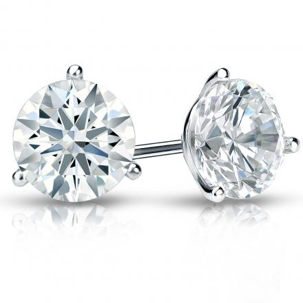 Certified Platinum 3-Prong Martini Hearts & Arrows Diamond Stud Earrings 2.00 ct. tw. (F-G, I1-I2)