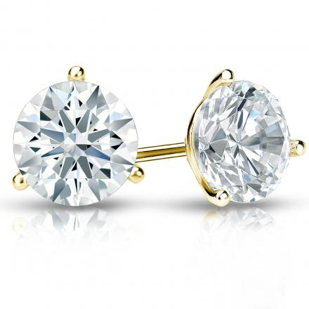 Certified 18k Yellow Gold 3-Prong Martini Hearts & Arrows Diamond Stud Earrings 2.00 ct. tw. (F-G, I1-I2)