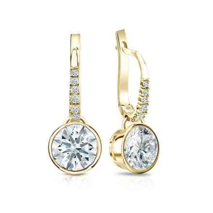 Certified 14k Yellow Gold Dangle Studs Bezel Hearts & Arrows Diamond Earrings 2.00 ct. tw. (H-I, I1-I2)
