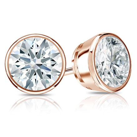 Certified 14k Rose Gold Bezel Hearts & Arrows Diamond Stud Earrings 2.00 ct. tw. (F-G, I1-I2)