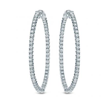 Certified 14K White Gold Round Diamond Hoop Earrings 1.00 ct. tw. (F-G, I1-I2) 1.29