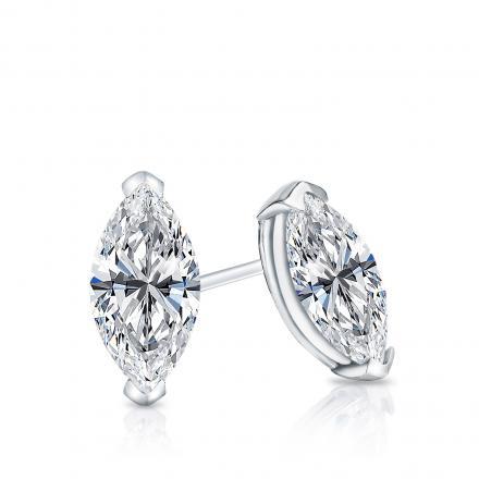 Certified 14k White Gold V-End Prong Marquise Cut Diamond Stud Earrings 0.62 ct. tw. (G-H, VS2)