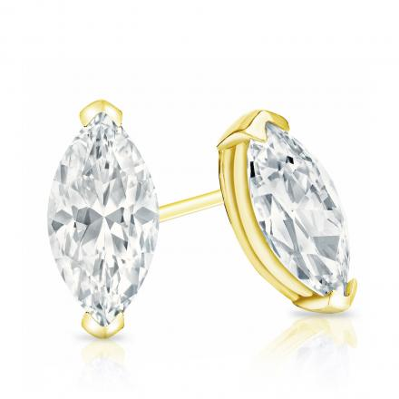 Certified 18k Yellow Gold V-End Prong Marquise Cut Diamond Stud Earrings 1.50 ct. tw. (G-H, VS1-VS2)