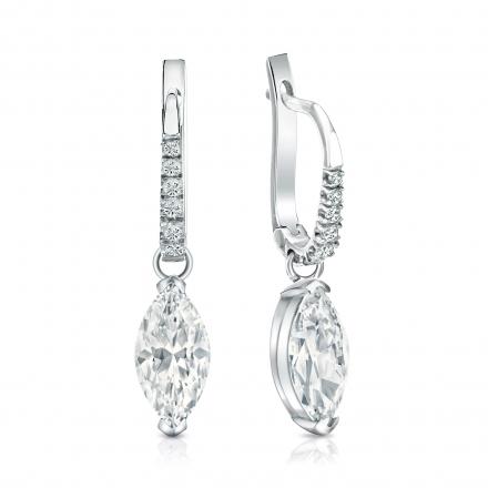 Certified 14k White Gold Dangle Studs V-End Prong Marquise Cut Diamond Earrings 2.00 ct. tw. (I-J, I1-I2)