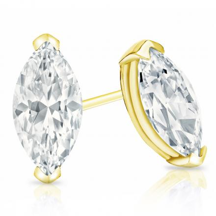 Certified 14k Yellow Gold V-End Prong Marquise Cut Diamond Stud Earrings 2.00 ct. tw. (I-J, I1)