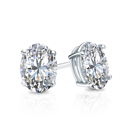 Certified 14k White Gold 4-Prong Basket Oval Diamond Stud Earrings 0.75 ct. tw. (E-F, VS1-VS2)