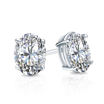 Certified Platinum 4-Prong Basket Oval Diamond Stud Earrings 1.00 ct. tw. (I-J, I1)
