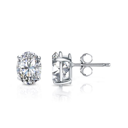 Lab Grown Diamond Studs Earrings Oval 1.00 ct. tw. (D-E, VS1-VS2) in 14k White Gold 4-Prong Basket