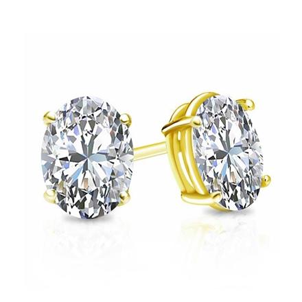 Certified 14k Yellow Gold 4-Prong Basket Oval Diamond Stud Earrings 1.00 ct. tw. (I-J, I1)