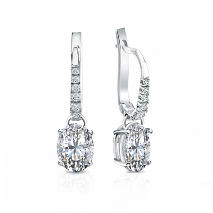 Certified 14k White Gold Dangle Studs  4-Prong Basket Oval Diamond Earrings 1.50 ct. tw. (I-J, I1-I2)