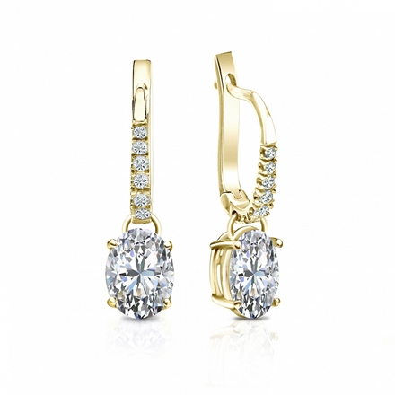 Certified 18k Yellow Gold Dangle Studs  4-Prong Basket Oval Diamond Earrings 1.50 ct. tw. (I-J, I1-I2)
