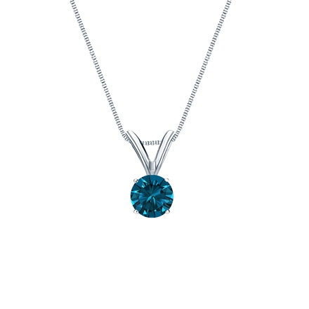 14k White Gold 4-Prong Basket Certified Round-cut Blue Diamond Solitaire Pendant 0.25 ct. tw. (SI1-SI2)