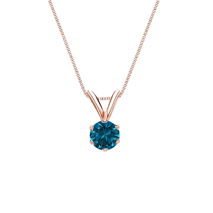 14k Rose Gold 6-Prong Basket Certified Round-cut Blue Diamond Solitaire Pendant 0.25 ct. tw. (SI1-SI2)