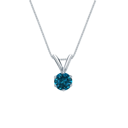 Platinum 6-Prong Basket Certified Round-cut Blue Diamond Solitaire Pendant 0.25 ct. tw. (SI1-SI2)