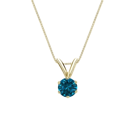 14k Yellow Gold 6-Prong Basket Certified Round-cut Blue Diamond Solitaire Pendant 0.25 ct. tw. (SI1-SI2)