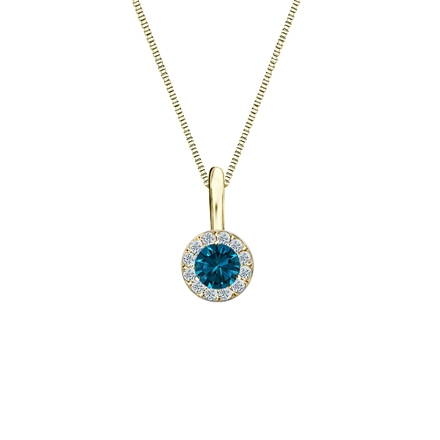 14k Yellow Gold Halo Certified Round-cut Blue Diamond Solitaire Pendant 0.25 ct. tw. (SI1-SI2)