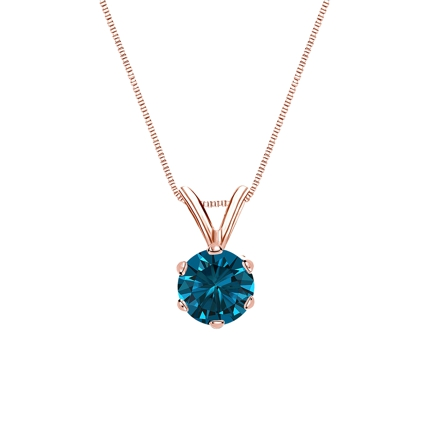 14k Rose Gold 6-Prong Basket Certified Round-cut Blue Diamond Solitaire Pendant 0.50 ct. tw. (SI1-SI2)