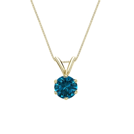 14k Yellow Gold 6-Prong Basket Certified Round-cut Blue Diamond Solitaire Pendant 0.50 ct. tw. (SI1-SI2)