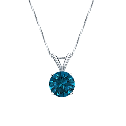 14k White Gold 4-Prong Basket Certified Round-cut Blue Diamond Solitaire Pendant 0.75 ct. tw. (SI1-SI2)