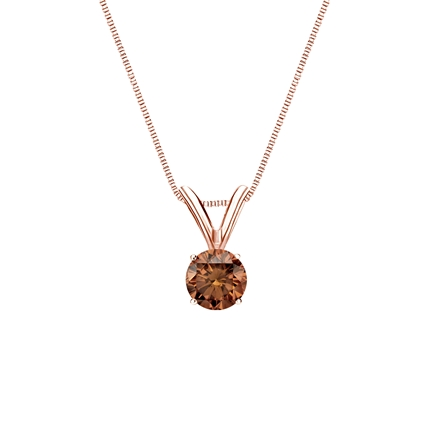 14k Rose Gold 4-Prong Basket Certified Round-cut Brown Diamond Solitaire Pendant 0.25 ct. tw. (SI1-SI2)