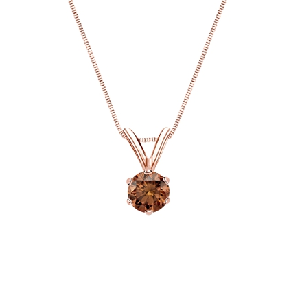 14k Rose Gold 6-Prong Basket Certified Round-cut Brown Diamond Solitaire Pendant 0.25 ct. tw. (SI1-SI2)